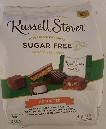 Russell Stover Sugar Free 5 Flavor Assortment Candies 19.7 Ounce Value Bag (Free Pecans Sugar Chocolate)