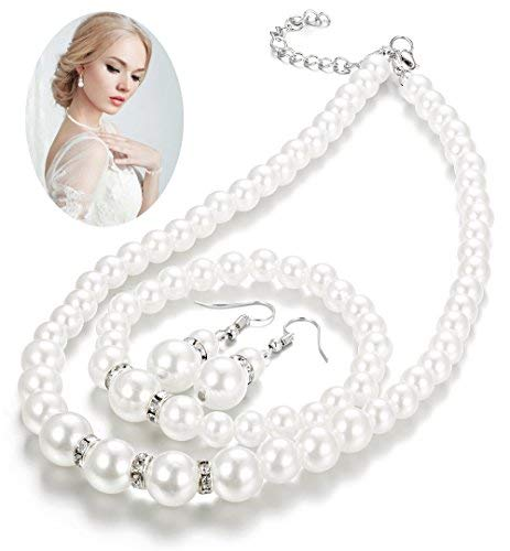 Finrezio Faux Pearl Crystal Choker Necklace Earring Bracelet Jewelry Set for Women Wedding Bridal Jewelry (Pearl Faux Small)