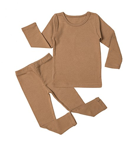 AVUAMA Newborn Baby Pajama Set 3M-5T Kids Boys Cute Toddler Clothing Cotton Sleepwear (Dark Beige, Medium/2T)