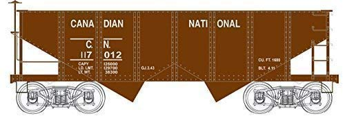 PRR CLASS GLA 2-BAY OPEN HOPPER - READY TO RUN - EXECUTIVE LINE -- CANADIAN NATIONAL #117012 (BOXCAR RED)