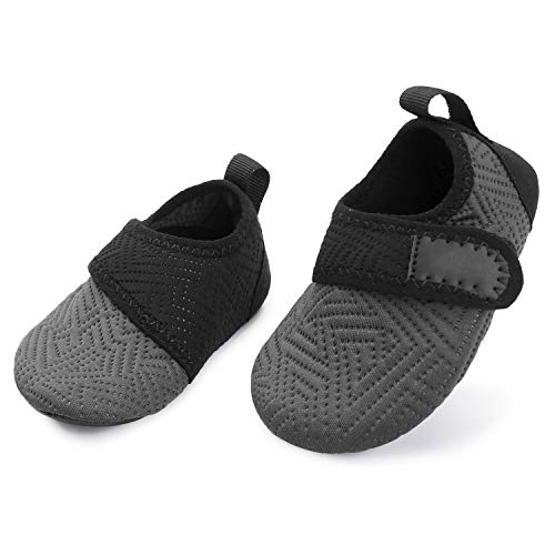 L-RUN Baby Water Swim Shoes Barefoot Aqua Socks Non-Slip Grey 18-24 -
