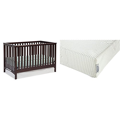 Stork Craft Hillcrest Fixed Side Convertible Crib, Espresso with Graco Natural Organic Foam Crib and Toddler Mattress