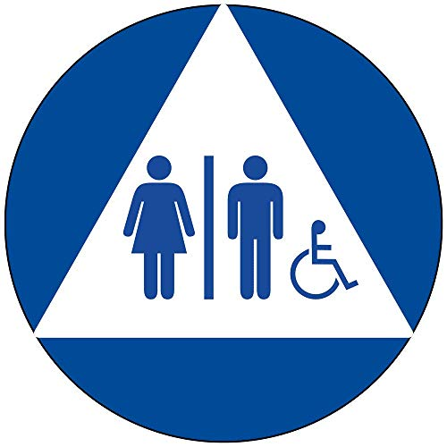 Unisex Accessible Restroom Door Sign with Tactile Symbol, 12 in. Blue on White Acrylic with Adhesive Mounting Strips by ComplianceSigns ()