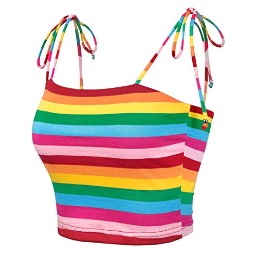 Rainbow Tube Top (Allegra K Women's Colorful Rainbow Striped Tie Spaghetti Straps Crop Top Sleeveless Summer Cami Tube Tops L)