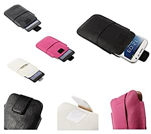 DFV mobile - Leather pouch case pocket sleeve bag with velcro & outer bag & buckle > asus zenfone 6, color blanco
