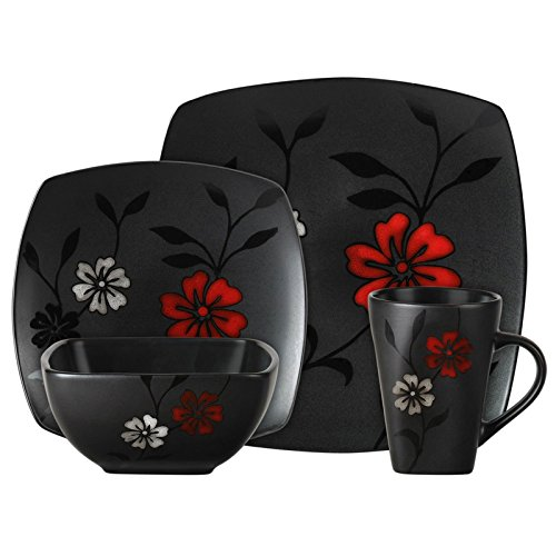 Elite Dinnerware Collection (Gibson 16-Piece Dinnerware Set, Evening Blossom, Black)