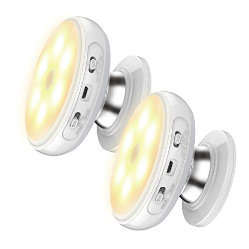 Nycoo Motion Sensor Wireless Front&Back Light Rotating Rechargeable LED Stick-Anywhere Wall Sensing Night Light for Kids Stair Kitchen Patio Hallway Bathroom Cabinet Closet (2Pack-Warm-Rechargeable)