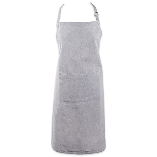 Adjustable Bib Apron - DII Cotton Adjustable Chambray Bib Chef Apron with Pockets and Extra Long Ties, 32 x 28,Kitchen Men & Women Apron for Cooking, Baking, Gardening, BBQ-Gray