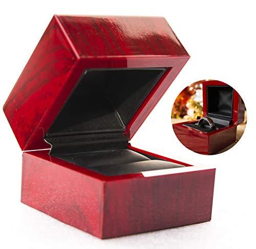 - Urban Designer Cherry/Red Wood Style Ring Box (Black Interior)