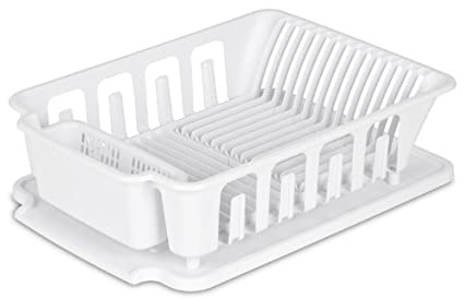 Sterilite 2 Piece Large Sink Set Dish Rack Drainer, White (18 3/
