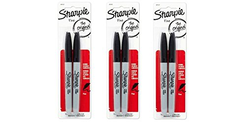 Sharpie 30162PP Fine Point Permanent Markers, Black, Permanent Ink, Ink Dries Quickly and Resists Both Fading and Water, Blister of 2 Markers, Pack of 3 Blisters, 6 Markers Total ()