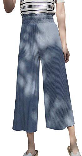 Taille Lche Points Pants Couleur Pantalon De Large Neuf Plage Jambe Trousers Jeune Femmes Bleu Unie Haute Fashion Freestyle Casual AWcRYpxnf