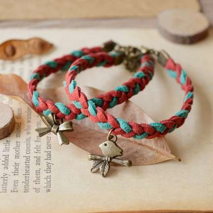 - ? passion fish bones Chrisas color leather cord woven bracelet bracelet couple girlfriends holiday gifts eight