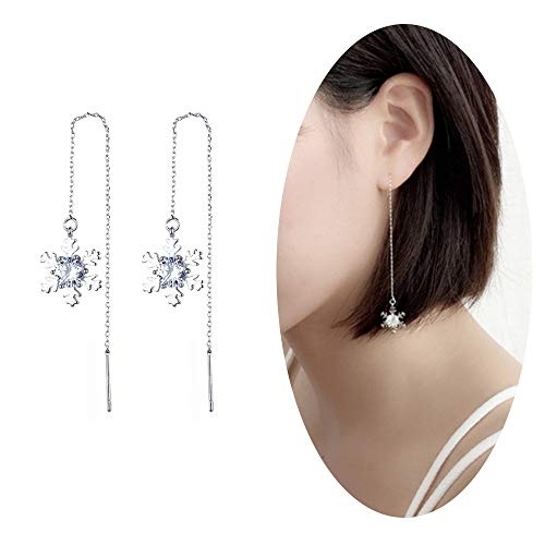 Snowflake Dangle Earrings Drop Rhinestone Crystal Ear Studs Tassel Threader Dangling Earrings Women Girls Wedding Bridal Holiday Chandelier Ear Line Charms Jewelry Silver Plated