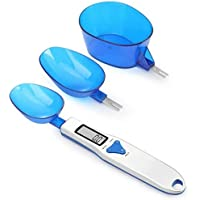 SKY-TOUCH Kitchen Scale Spoon Gram Measuring Spoon, 500g/0.1g Blue Cute Digital Weight Scale Spoon Milligram Measuring Scoop Grams Electronic Measuring Cup for Portioning Tea, Flour, Spices, Medicine
