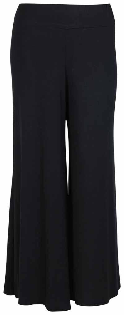 PurpleHanger Women's Plus Size Black Plain Stretch Wide Long Palazzo Pants 16
