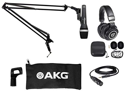 AKG D5 C PC Podcasting Podcast Bundle w/Microphone+Boom Arm+Headphones