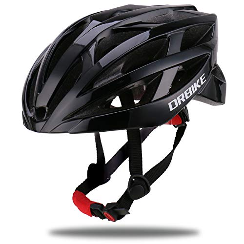 DRBIKE Lightweight Bicycle Helmet for Men, Women & Youth - Performance & Safety w/Active Ventilation, Ultralight PC+EPS Cycling Helmet with Adjustable Straps & Dial (58-61cm), Black