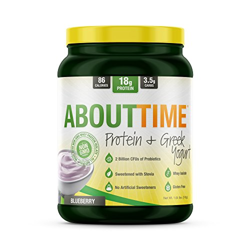 About Time Whey Isolate Protein Plus, Non-GMO, All Natural, Lactose/Gluten Free, 16g of Protein Per Serving (Greek Yogurt Blueberry) -1.5 Pounds)