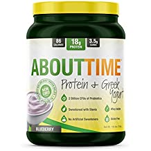 About Time Whey Isolate Protein Plus, Non-GMO, All Natural, Lactose/Gluten Free, 16g of Protein Per Serving (Greek Yogurt Blueberry) -1.5 Pounds