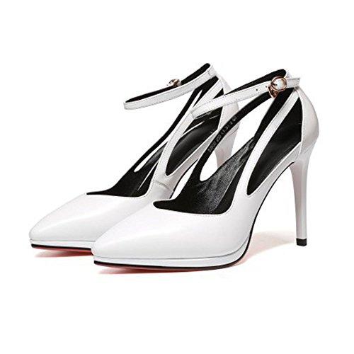White Party Ankle Buckles Toe Wedding Court High Shoes Hollow Womens Heels Strap Dress Closed Shoes Platform Black Pumps qHYx8ZT8