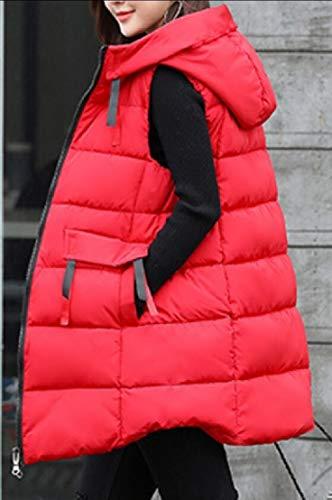 Cappotto Da Cappuccio Puffer Gilet Giacca Giù Eku Maniche Con Rosso Donna 4qzPZZ7w