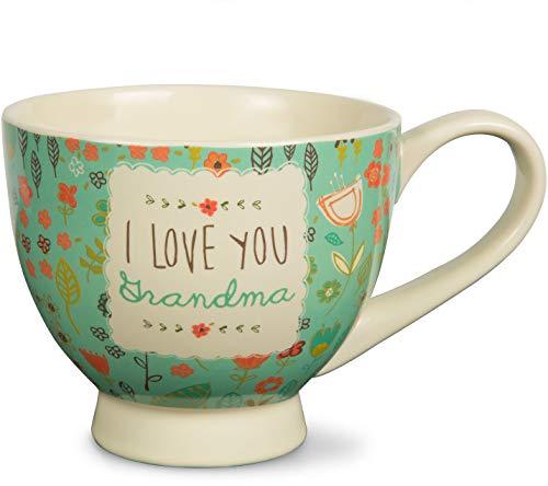 Pavilion Gift Company 54001A Mothers Love-I Love You Grandma Floral Soup Bowl Mug, Teal, 17 oz