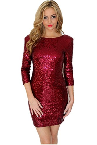 TowerTree Women's Sparkle Glitter Sequin 3/4 Sleeve Bodycon Shiny Party Dress Vegas -