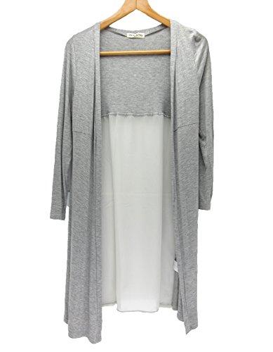 [パンダファミリー] カーディガン ロング セミロング シフォン 切り替え 体型カバー 薄手 春夏 長袖 UVカット 日焼け 冷房対策