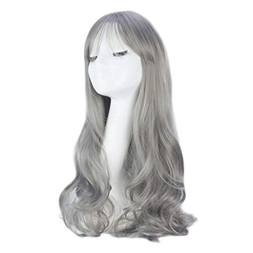 Mysky Fashion Women No Front Lace Multi-color Optional Long Loose Wavy Synthetic Curly Full Natural Hair Wigs -
