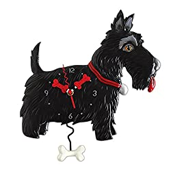 Allen Designs Scottie Whimsical Black Scottish Terrier Dog Pendulum Wall Clock