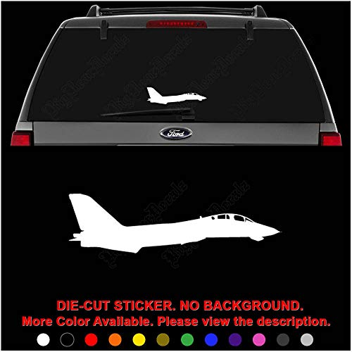 (F-14 Tomcat Fighter Jet Plane Grumman Die Cut Vinyl Decal Sticker for Car Truck Motorcycle Vehicle Window Bumper Wall Decor Laptop Helmet Size- [6 inch] / [15 cm] Wide || Color- Gloss Black)