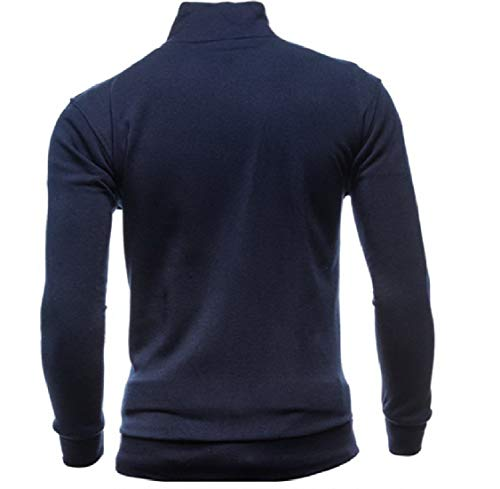 Mens Zips Navy Blue Luxury College Pocketed Jacket Collar Energy Stand with Solid ZqZv7d