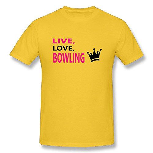 Richard-L Mens Tshirt-Cool Bowling Yellow - Nc Bowling Rock
