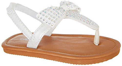 Capelli New York Toddler Girls Metallic Shimmer T-Strap Flip Flops with Bow, Rhinestone Trim and Elastic Backstrap White 6/7 (Trim Rhinestone Slide)