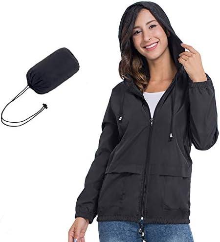 JTANIB Womens Raincoat Windbreaker Waterproof Lightweight Packable Hooded Rain Jacket S-XXL