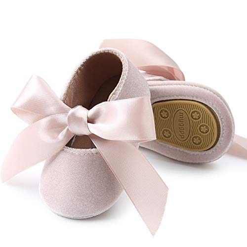 Ballet Baby Girl Shoe (BubbleColor Baby Girls Ballet Dress Shoes Toddler Infant Prewalker Soft Sole Bow Mary Jane Party Princess Crib Shoes (S:0-6 Months/4.33