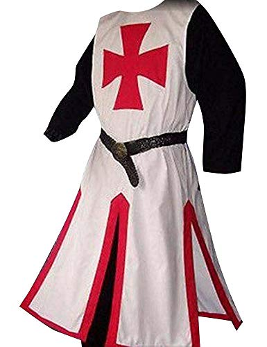 Mens Medieval Crusader Templar Knight Surcoat Cloak Renaissance Warrior Cosplay Costumes