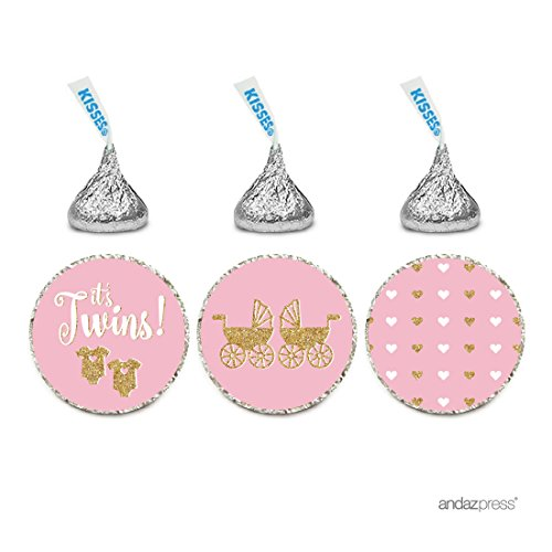 Andaz Press Chocolate Drop Labels Trio, Twins Girl Baby Shower, It's Twins!, Pink with Printed Gold Glitter, 216-Pack