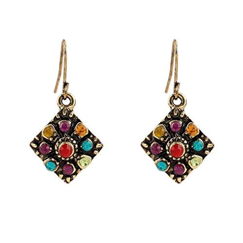 Earrings, Shybuy Women Bohemian National Wind Retro Rhinestone Ear Stud Earrings Jewelry Eardrop Gift (Multicolor, 5.5cm2.8cm)