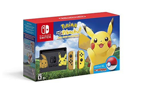 Two Care Package - Nintendo Switch Console Bundle- Pikachu & Eevee Edition with Pokemon: Let's Go, Pikachu! + Poke Ball Plus