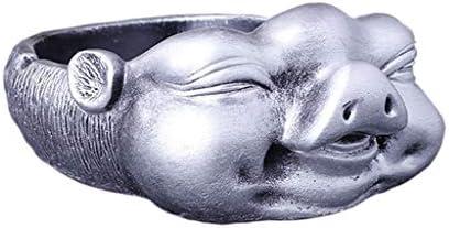 灰皿 , 樹脂灰皿、創造的な人格ハッピー豚形装飾クラフトホテルリビングルーム灰皿 (色 : Silver)