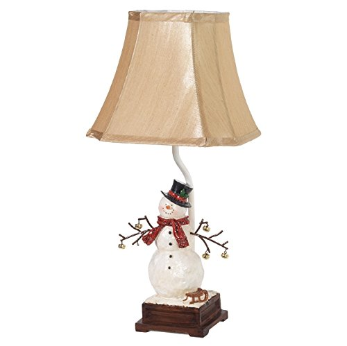 Raz Imports Winter Snowman with Top Hat Scarf and Sled Holiday Table Lamp - Snowman Lamp