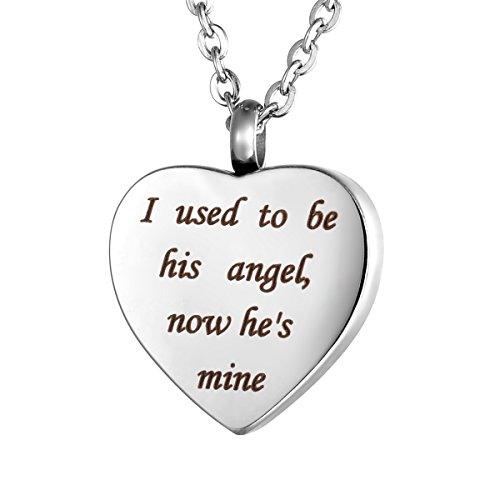 Valyria Heart Cremation Urn Necklace Memorial Keepsake Jewelry - Engraved I Used to be his Angel, Now He