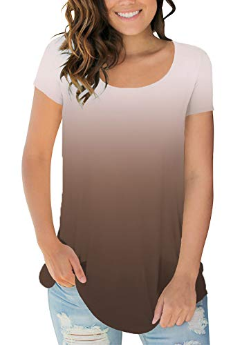 Sousuoty T Shirts for Women Soft Lightweight Tops Gradient Color Ombre Coffee M