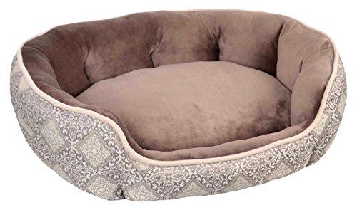"Wild Olive 28"" x 23"" x 8"" Portugal Oval Pet Bed, Medium, Brown/Metallic Taupe"