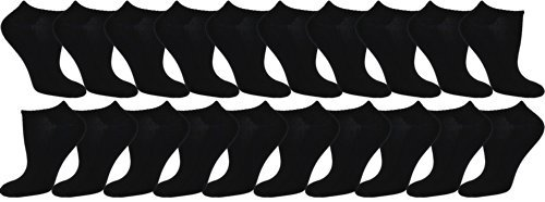 Women's 20 Pair Low-cut Socks (Black),Size-9-11