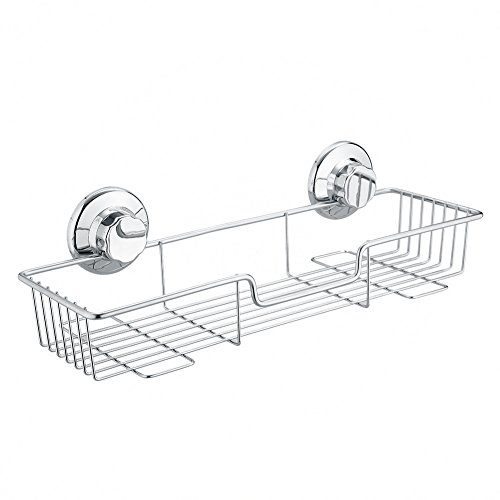 Bathroom Shower Caddy Strong Suction Cups Rustproof Bath Shelf for Shampoo Conditioner organizer Kitchen Storage Basket Holder rectangle shelves 304 never rust wire stainless steel
