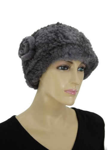 Knit Mink Beret Hat with Rosette - Grey