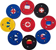 Green Biscuit Olympic Pucks - Find Your Team! Hockey Training Puck, Stays Flat, Passing/Handling Street Hockey